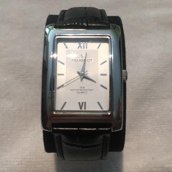 Peugeot Accessories - Peugeot Silver Black Crocodile Band Watch